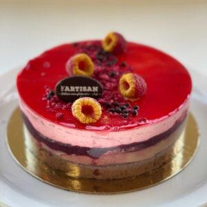 Gâteau mousse choco framboise